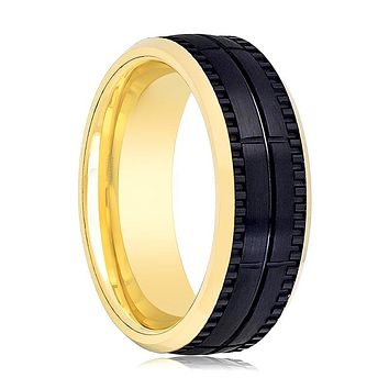 Aydins Gold & Black Tungsten Wedding Ring Brushed 8mm Mens Tungsten Wedding Band