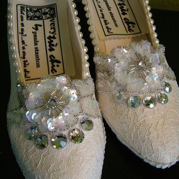 Wedding shoes Lace and pearl embelished by RetroVintageWeddings