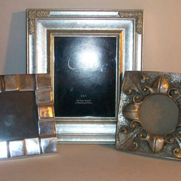 3 Silver Ornate Metal Picture Frames