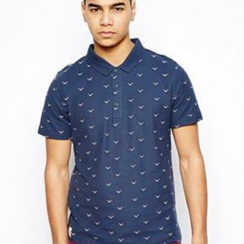 Native Youth Polo Shirt With Swallow Print - Navy