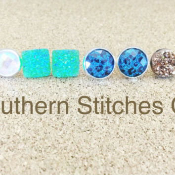 Earrings August Special Druzy Earrings Prism Earrings Blue Green and Gold Druzy Stud Earrings Boho Jewelry