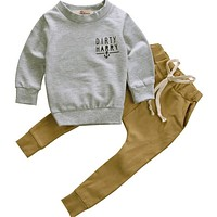 Hoodie Warm Long Pants Casual Hoodies Baby Outfits Set Autumn Winter Newborn Toddler Kids Baby Boys Clothes Set Tops 2pcs
