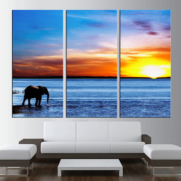 beach sunset canvas print, sea wall art, elephant wall art beach canvas art, extra large wall art, lanscape canvas print, large canvas  t277