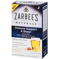 Zarbee's Naturals Immune Support and Sleep Drink Mix with Vitamin C, Zinc, Honey and Melatonin, Natural Lemon Citrus Flavor, 10 Packets