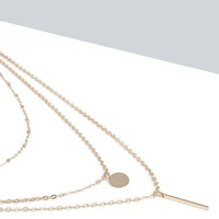 Kayla Bar And Coin Layered Necklace
