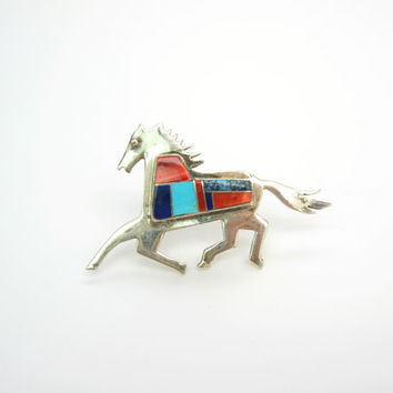 Southwestern Horse Brooch. Zuni Inlay. Vintage Native American Jewelry. Turquoise Lapis Spiny Oyster Inlay. Sterling Silver Jewelry. JE.