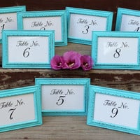 Turquoise Table Number Frame / Table Marker , Beach Theme Wedding Reception & Shower  Decor