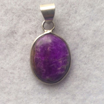 Gorgeous Sugilite Cabochon Pendant set in 925 Sterling Silver