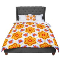 "Miranda Mol ""Kaleidoscopic Flowers"" Orange Red Floral Comforter"