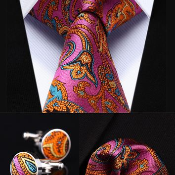 "Pocket Square Tie  Pink Orange Paisley 3.4"" Silk Men Tie Necktie Handkerchief Cufflinks Set"