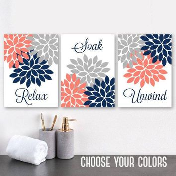 Navy Coral Gray BATHROOM WALL Art Canvas or Prints Flower Bathroom Pictures, Relax Soak Unwind Quotes, Bathroom Quotes Set of 3 Pictures