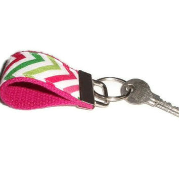 Tiny Key Ring Chain Fob made with Preppy Chevron fabric