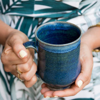 Blue Pottery Mug / Stoneware Coffee Mugs / Gift for Girlfriend