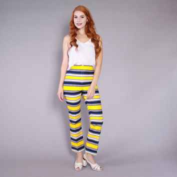 60s High Waist BELL BOTTOMS / 1960s Bright Striped High Waisted Hippie Pants XS