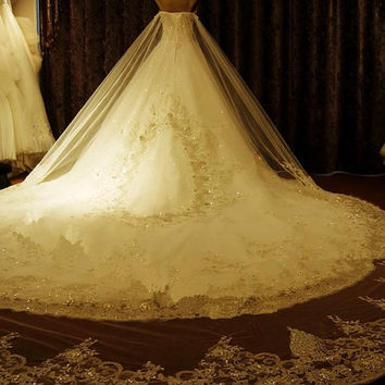 Sweetheart Cathedral Train  Lace up Organza Removeablve Train Lace Wedding Dress Bride Dress Prom Gown Evening Dress Formal Gown Hot