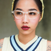 Vintage Cat Eye Frame Eyeglasses 1960's Made In USA Clear Plastic with Flower Inlaid stunning