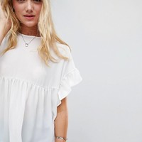ASOS TALL Smock Top with Ruffle Sleeve at asos.com