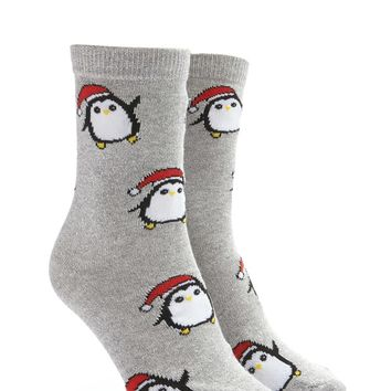 Metallic Peguin Graphic Crew Socks
