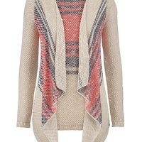 Long Sleeve Striped Blanket Cardigan - Beige