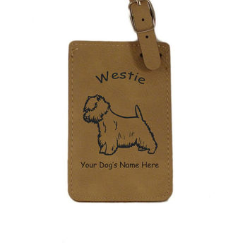 L4215 Westie Standing Personalized Luggage Tag