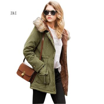 Winter Coat 2017 Military Coats Women Cotton Wadded Hooded Jacket Casual Parkas Thickness Plus Size Quilt Snow Outwear