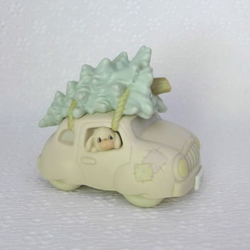 Precious Moments Figurine, Sugar Town Car, Pastel Porcelain Car, Christmas Tree, Christmas Decor