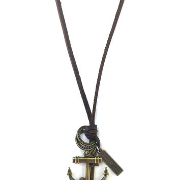 Leather Anchor Necklace