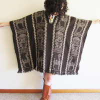Vintage 60s 70s Brown Peru South American Mayan/ Inca Llama Ethnic Wool Hippie Boho Blanket Wrap Poncho