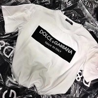 Dolce & Gabbana Women Simple Casual Letter Pattern Print Short Sleeve Round Neck T-shirt Top Tee