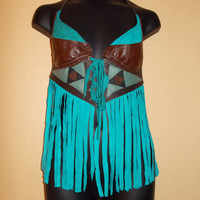 Lace-up Suede Leather Festival Fringe Top Turquoise & Brown Small