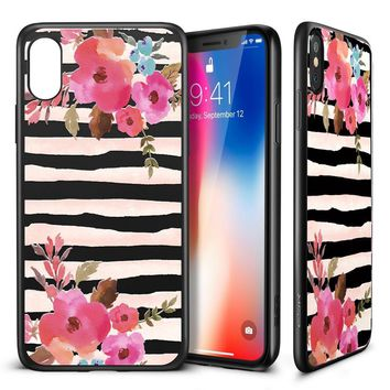 "iPhone X Case, ESR Floral Flower Pattern Cover for Girls/Women [Anti Scratch PC Back with Soft Bumper] [Support Wireless Charging] for 5.8"" iPhone X/iPhone 10 (2017 Release)(Zebra Flowers)"