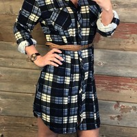 Fall Approaching Blue Plaid Dress