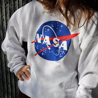 NASA Letters Print Long Sleeve T Shirt Sweatshirt Top Pullover Sweater