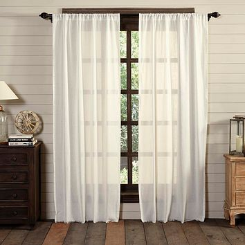 Tobacco Cloth Antique White Fringed Panel Curtains