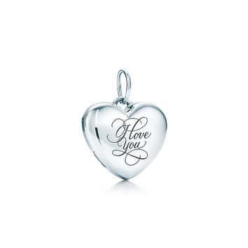 "Tiffany & Co. - ""I Love You"" heart locket in sterling silver, small."