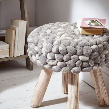 NEW Chunky Grey Felted Stool