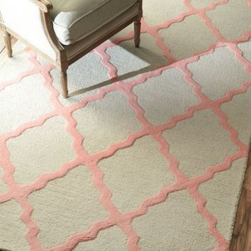 NuLOOM Hand Hooked Marrakech Trellis Rug Bubble Gum