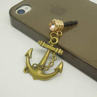 1PC Retro Alloy Anchor Cell Phone Earphone Antidust Plug Charm for iPhone 5c,5s, Samsung S3,S4 Gift for Him Friend Gift