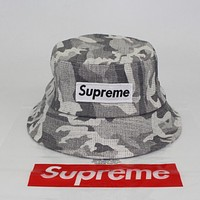 Supreme Fashion Unisex Personality Cowboy Cap Camouflage Fisherman Hat Short Along Cotton Basin Hat Folding Sun Hat Street Dance Skateboard Hat Grey