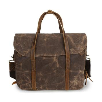 Ekphero Vintage Waterpoof Canvas Genuine Leather 14 Inch Laptop Bag