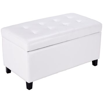 Giantex 33.5'' Living Room Storage Ottoman Bench Modern Single Ottoman Footstool PU leather Seat White Organizer Box HW56833WH