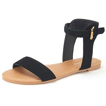 Summer Fashion Flat Sandals Women's High Ankle Cuff One-Band Adjustable Buckle Closure