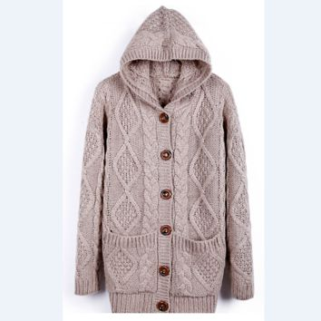 Loose Pocket Knitted Hooded Sweater Coat