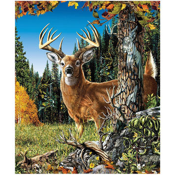 """Royal Plush Extra Heavy Queen Size Mink Blanket - Deer in the Meadow (79"""" x 85"""")"""