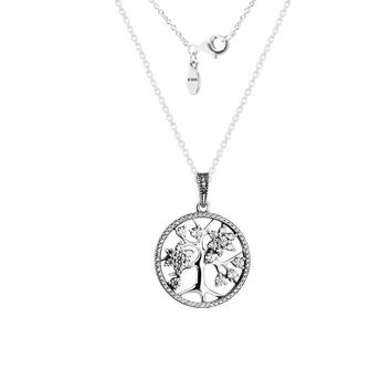 Authentic 925 Sterling Silver Jewelry Family Tree Pendant Necklace Fits European Style Free Shipping