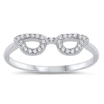 Fun Nerd Glasses Mask Glasses Cubic Zirconia Silver Ring