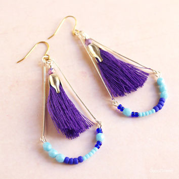 Purple tassel earrings, Fringe earrings, Blue Purple Jewelry, top selling items, popular items