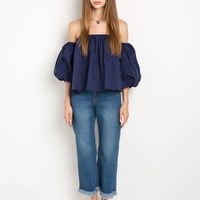Navy Stripe Bubble OTS Top