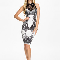 Black Lace Embroidered Sleeveless Midi Bodycon Dress