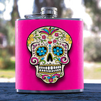 Day of the Dead, Candy Skull, Sugar Skull 6oz Hip Flask, for Events, Anniversary, Weddings, Gifts, Birthdays, Bridesmaid, Groomsmen & more!